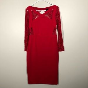 ASOS Petite Red Sheath Dress with Open Back SZ 12